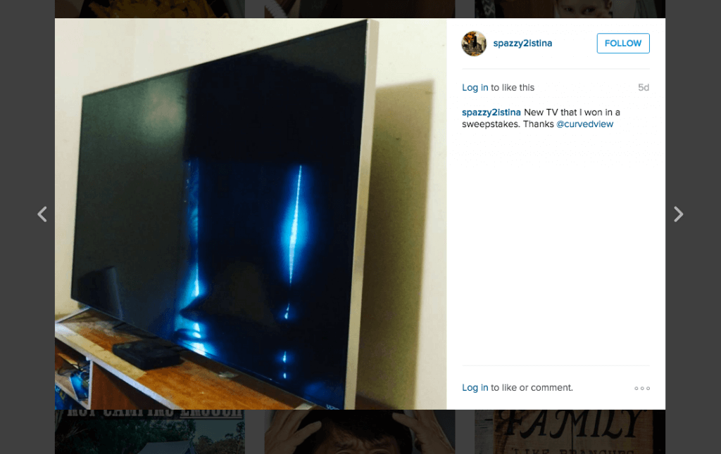 sharing on Instagram her winning of the CurvedView Vizio HDTV giveaway