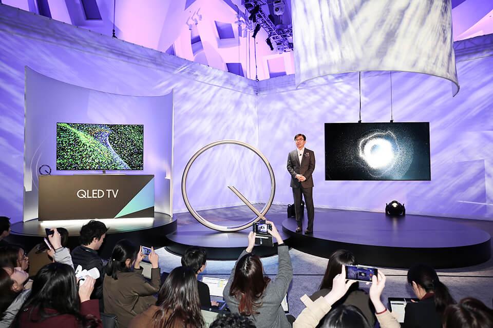 President Hyun Suk Kim, introduces the company�s new QLED TVs